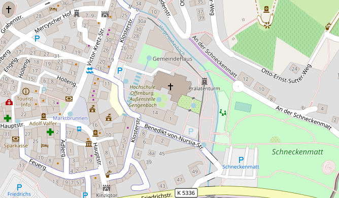 Map for directions to Campus Gengenbach